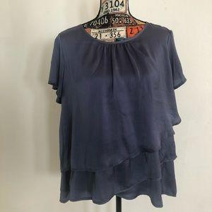 Hazel brand, Chambray blue, ruffle satin blouse